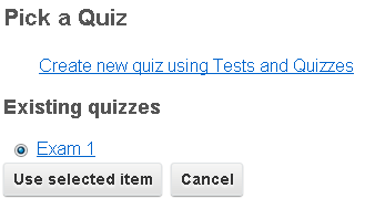 Test and Quizzes integration with Learning Module
