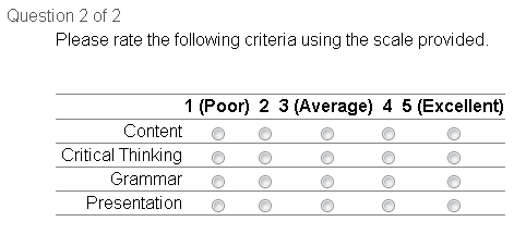 Survey matrix question type