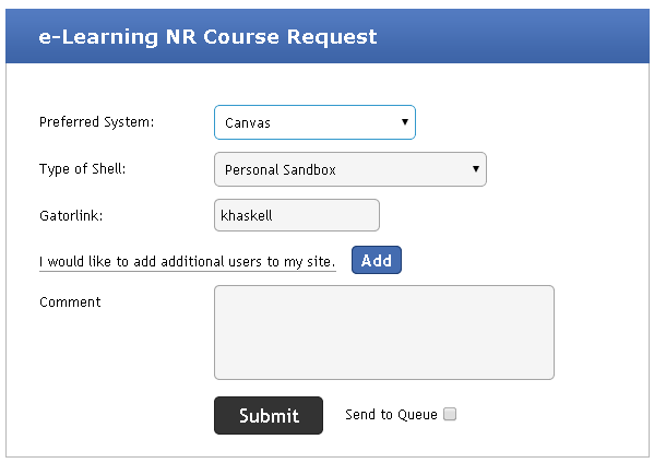 The Canvas Non-Registrar Course Request form.